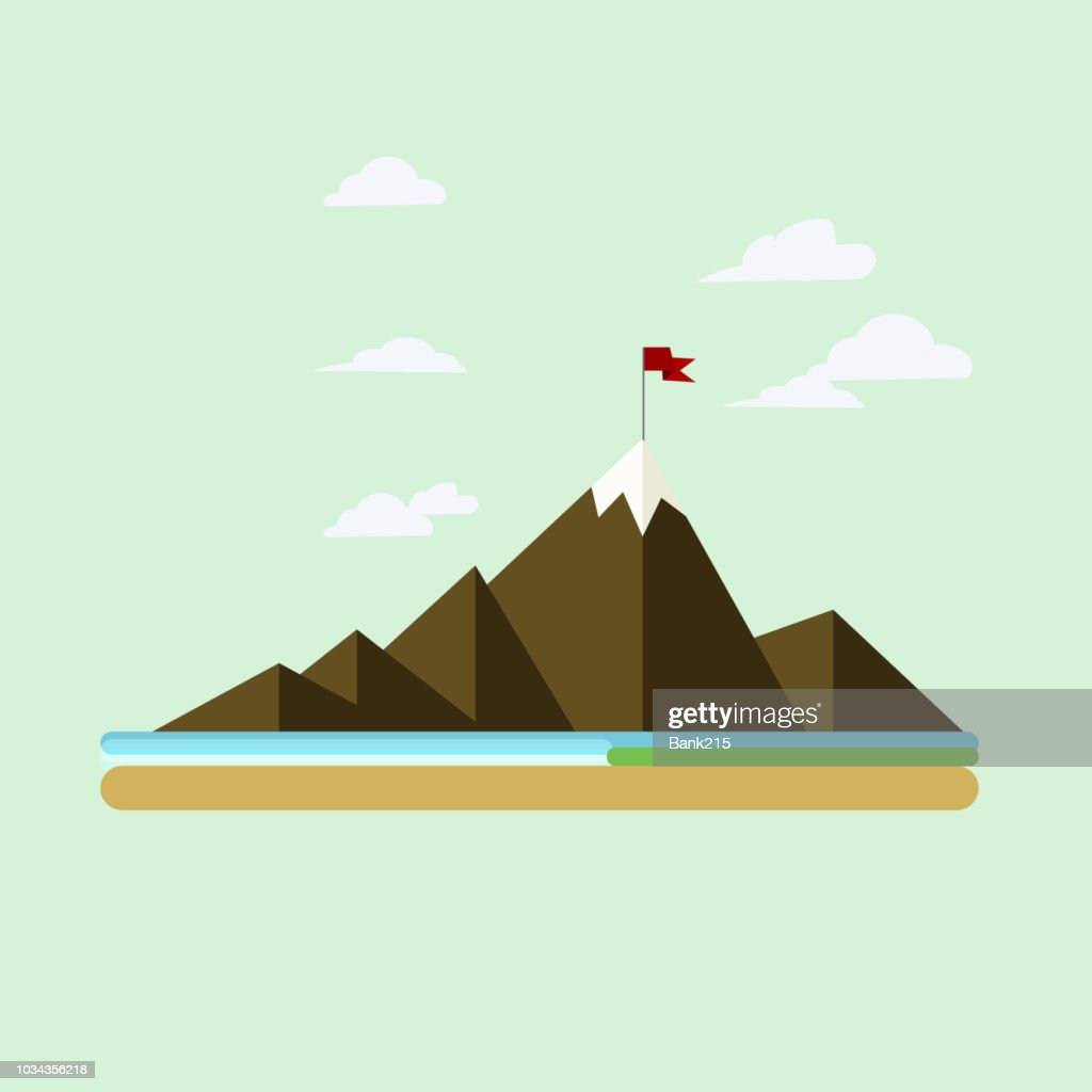 vector mountain peak and red flag flat design - can use to display or montage on product