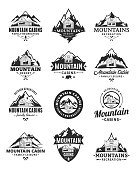 Vector mountain recreation and cabin rentals badges