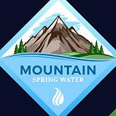 Vector mountain water icon