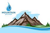 Vector mountain water illustration