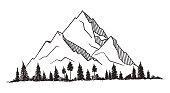 Vector mountain with texture