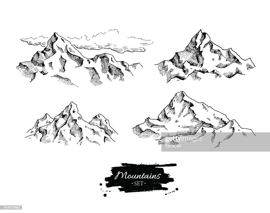 Vector mountains drawing. Hand drawn mountains illustrations.