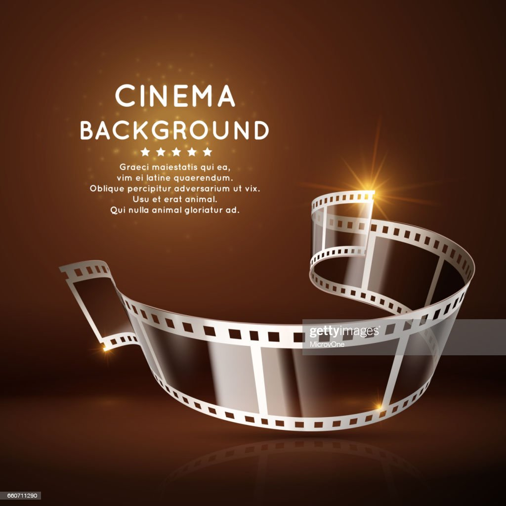 Vector movie poster with film 35mm roll, vintage cinema background