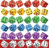 Vector multicolor dice set