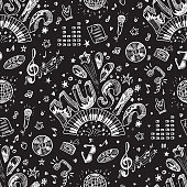 Vector Music background. Seamless pattern with Hand drawn doodle Word Music and Musical Symbols.