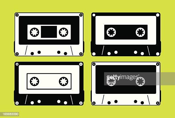 vector de música silouhette cassette