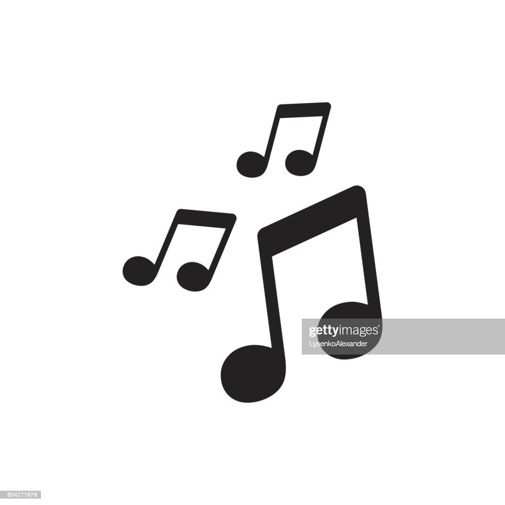 Vector music icon. Sound note illustration.