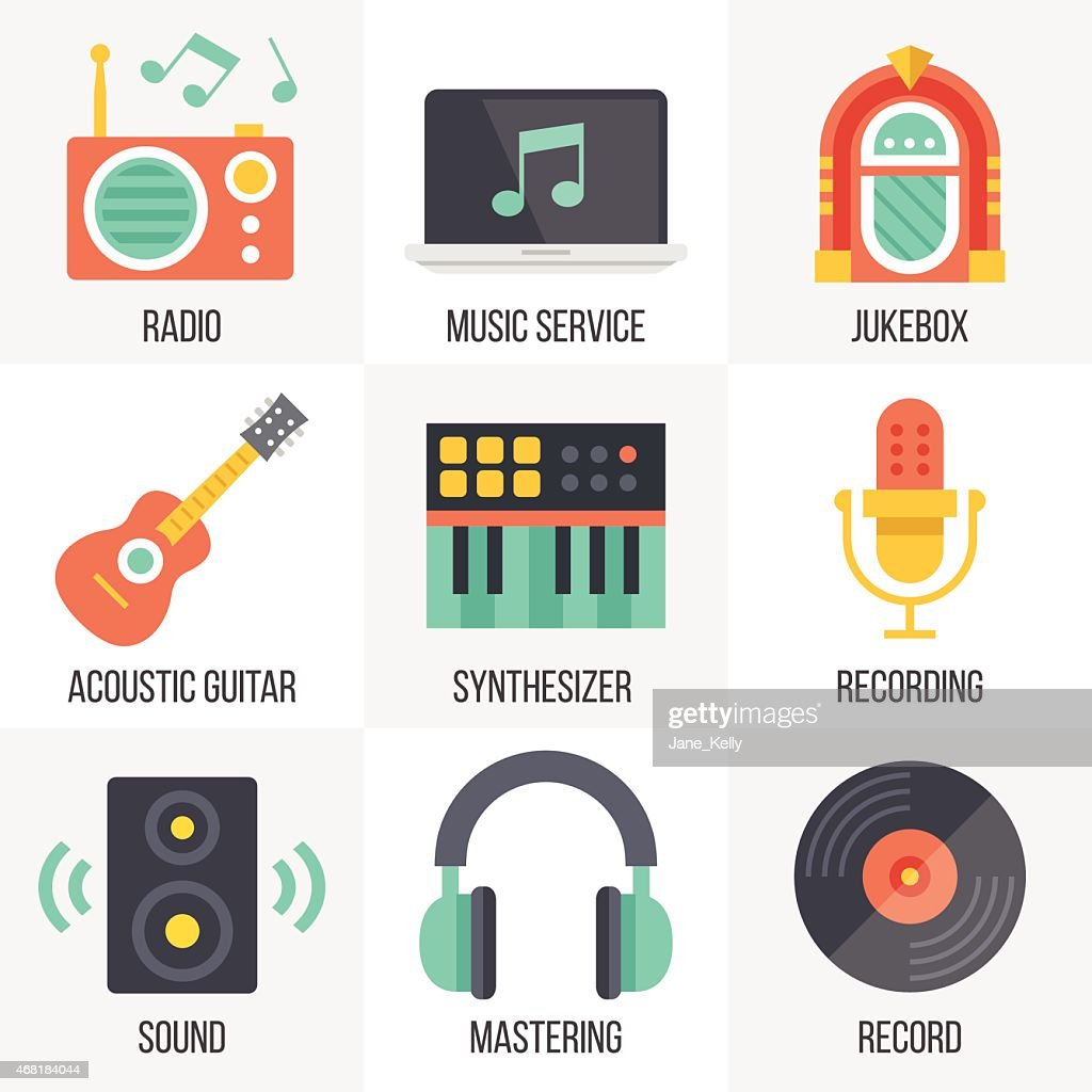 Vector music icons set. Set 11