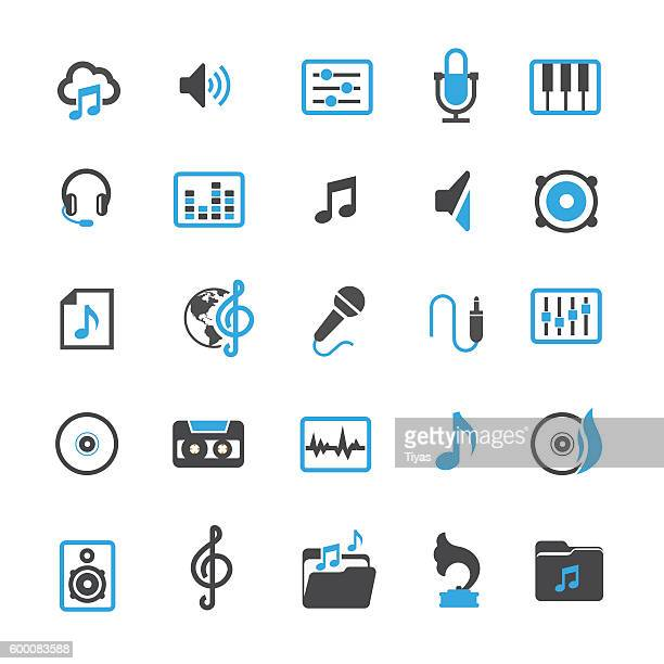 vector music icons - gramophone stock illustrations, clip art, cartoons, & icons