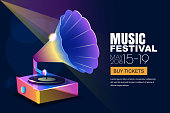 Vector music jazz festival, glowing neon poster or banner background. Colorful 3d style musical vinyl gramophone.