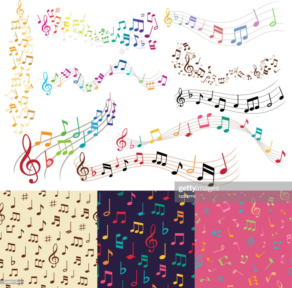 Vector music notes music melody background vector seamless pattern background