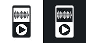 Vector music player icon. Two-tone version