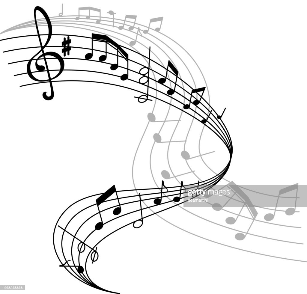 Vector music poster or notes staff icon