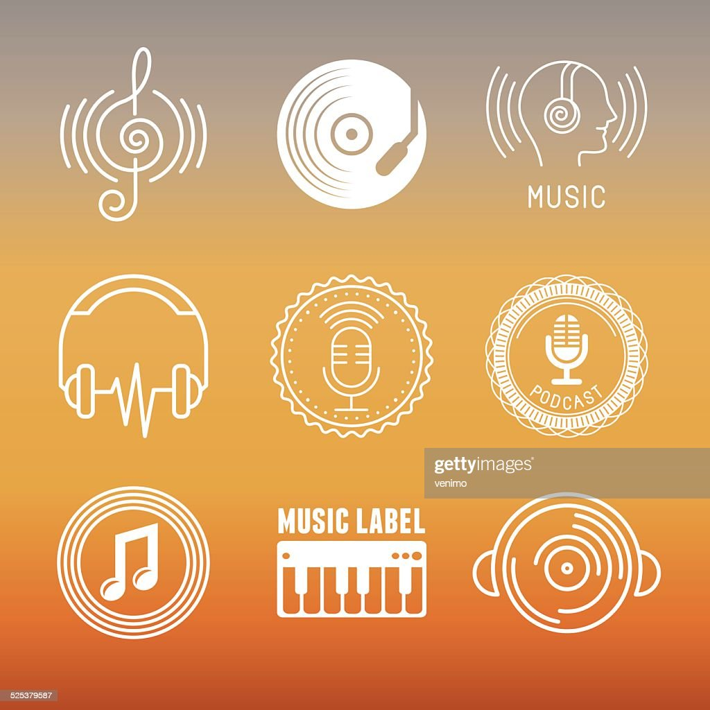 Vector musical logos and icons