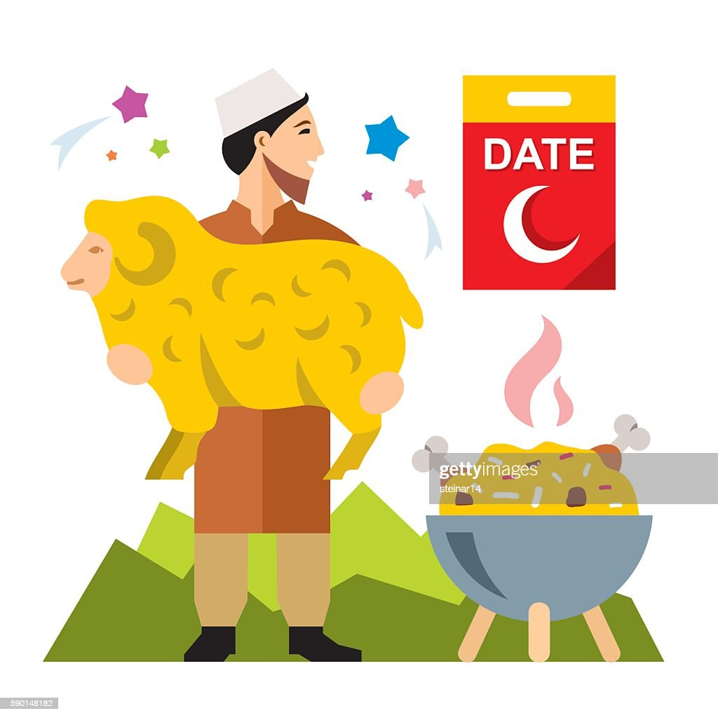 Vector Muslim holiday of Ramadan. Flat style colorful Cartoon illustration.