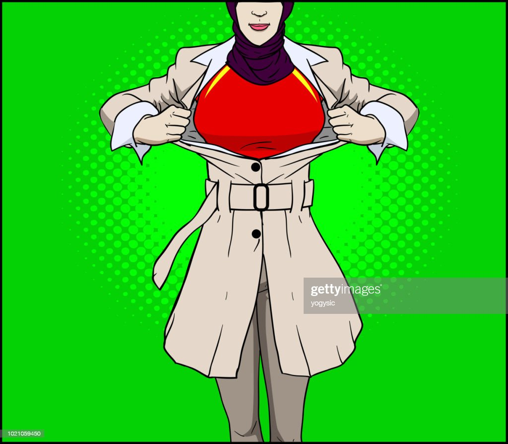 Vector Muslim Superhero Woman Transformation Closeup stock