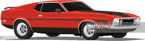 ilustrações, clipart, desenhos animados e ícones de vetor mustang mach 1-1973 - carro de corrida