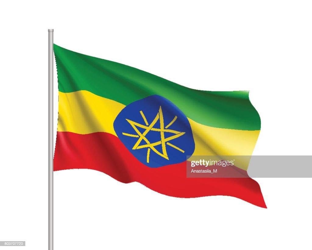 Vector national flag of Ethiopia.