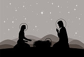 Vector nativity scene. Mary with Jesus, and Joseph silhouette