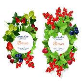 Vector natural garden berries banners