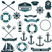 Vector nautical heraldic icons of seafarer sailing