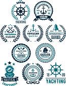 Vector nautical marine heraldic icons for yachting