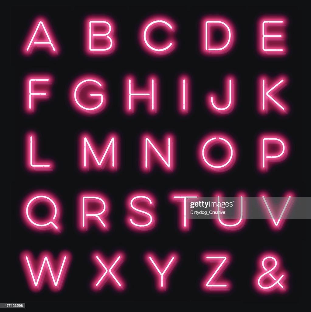 vektorneon buchstaben des alphabets in pink vektorgrafik. Black Bedroom Furniture Sets. Home Design Ideas