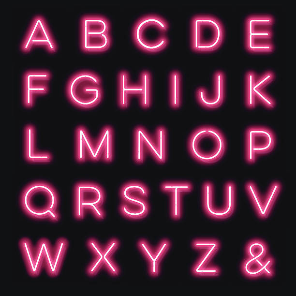 vector neon alphabet letters in pink - pink stock illustrations