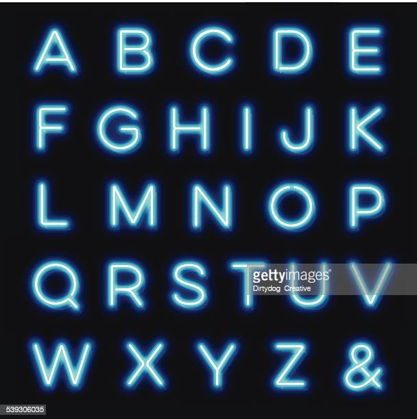vector neon alphabet letters - text stock illustrations