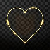 Vector neon frame in heart shape on transparent background. Golden frame