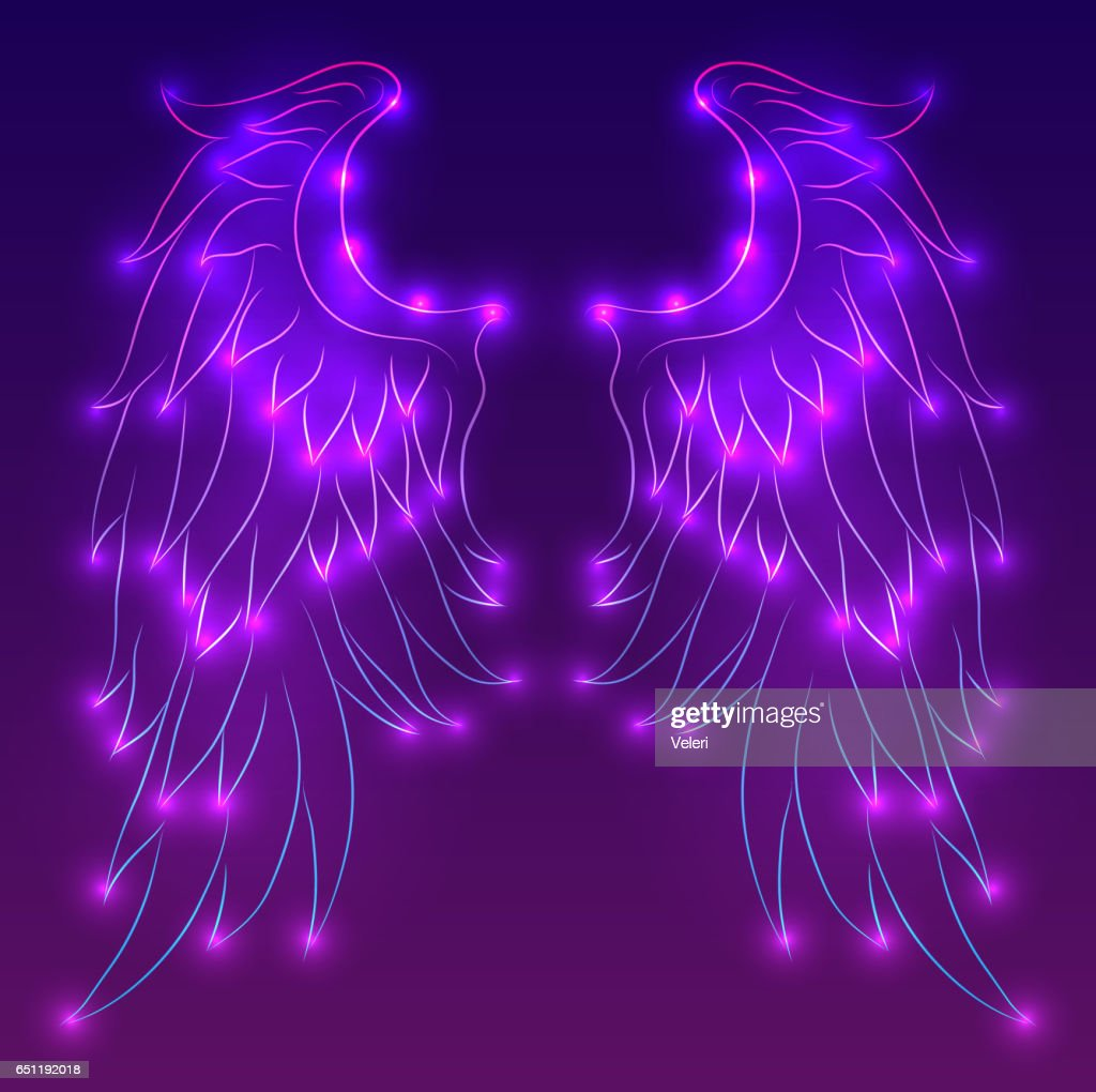 Vector neon illustration of angel wings with sparks.