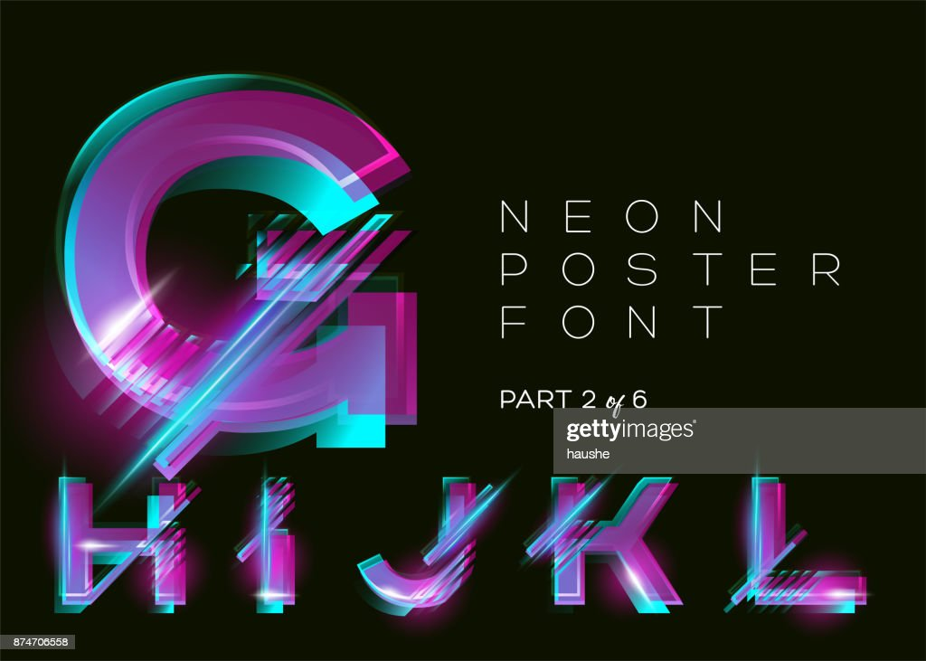 Vector Neon Typeset. Glowing Alphabet, Dark Background. Glitch Effect. Vibrant Pink, Blue, Violet Colors. Futuristic Font for Creative Poster, Night Club Invitation, Sale Banner, Music Fest. Isolated.