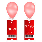 Vector new and buy tags with fly balloon