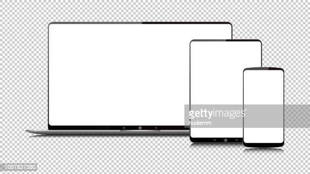 vector new style digital tablet pc and smart phone isolated - laptop stock illustrations