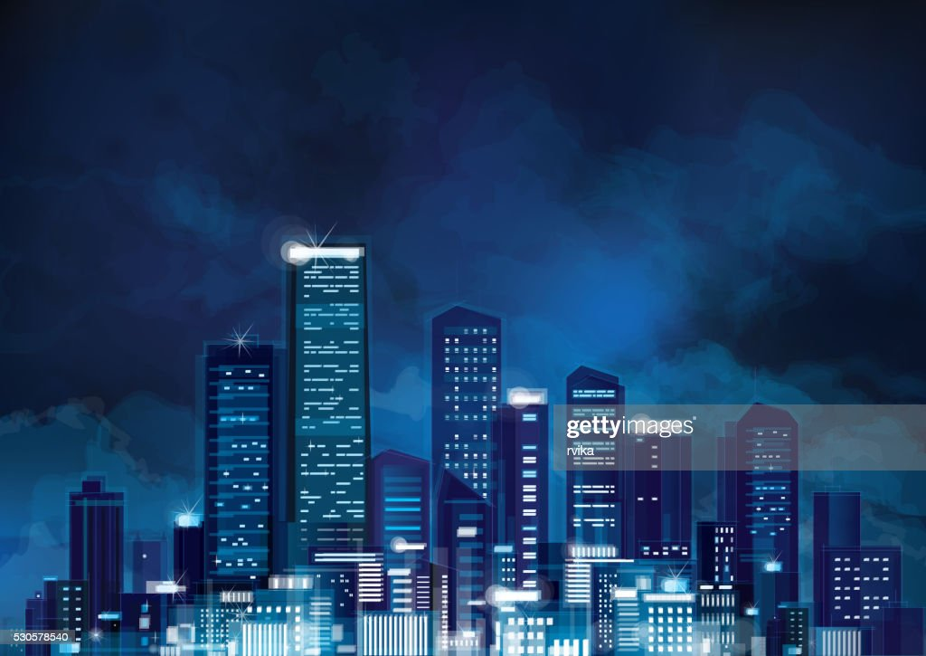 Vector night cityscape.