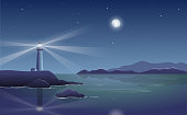 Vector night landscape with lighthouse by the sea and shining moon
