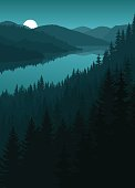vector night river in mountains