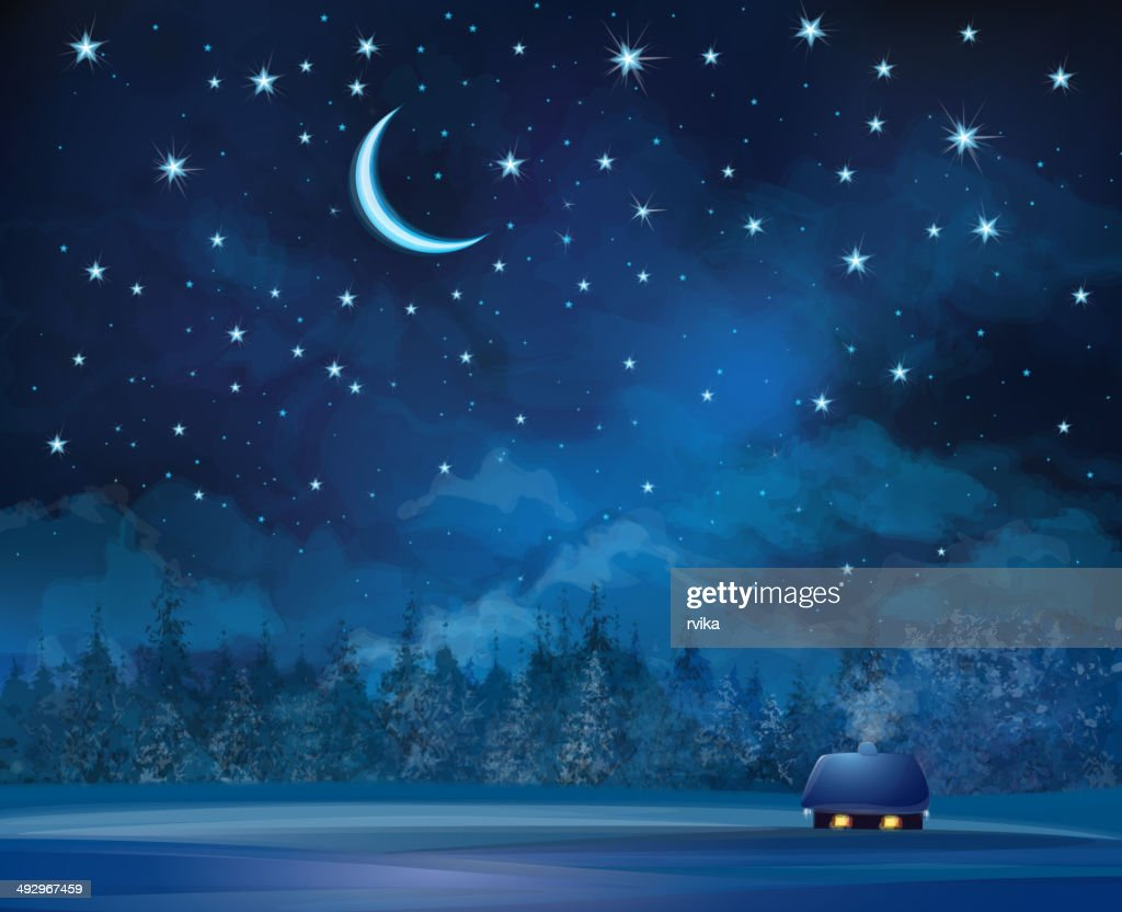 Vector night scene with house on starry sky background.