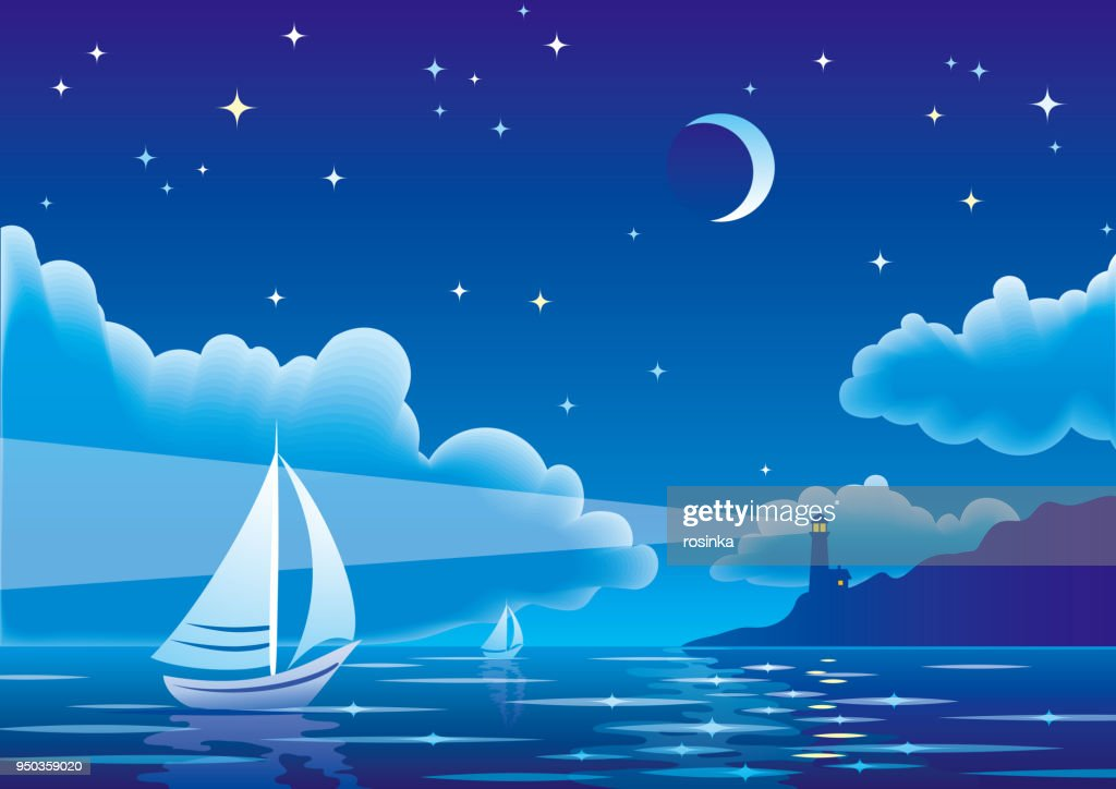 Vector night seascape with sailboat and lighthouse