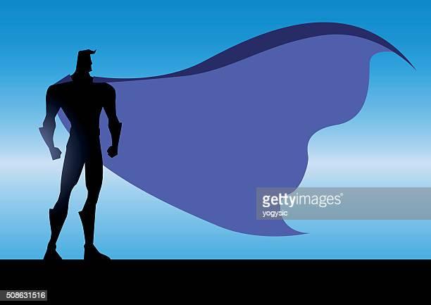 vector  night superhero silhouette - cape garment stock illustrations