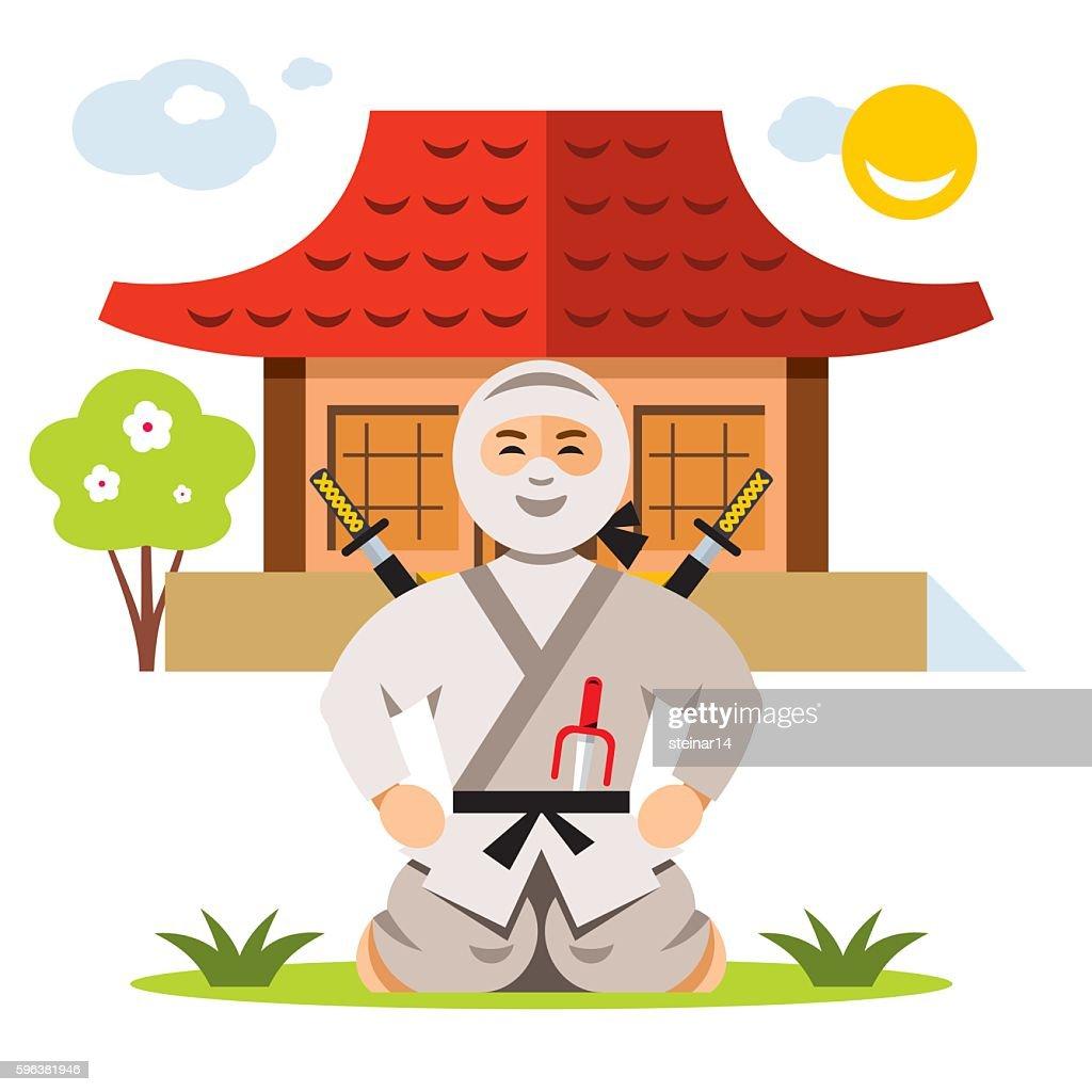 Vector Ninja and dojo. Flat style colorful Cartoon illustration.