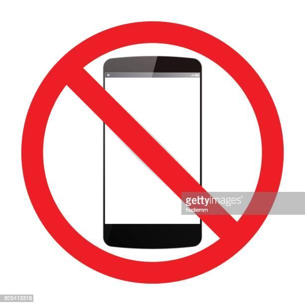 illustrations, cliparts, dessins animés et icônes de vector qu'aucun mobile ne téléphones signe isolé sur fond blanc - panneau sens interdit