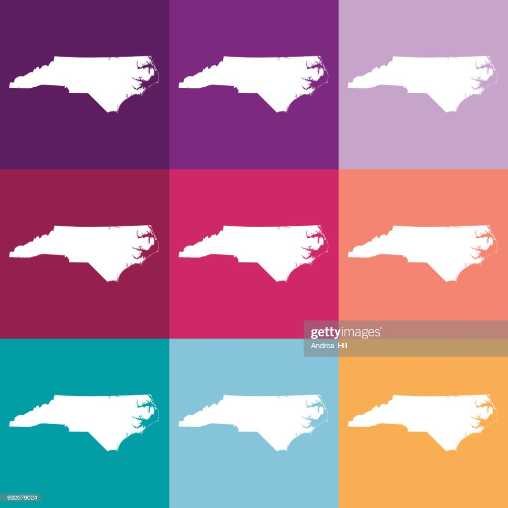 Vector North Carolina Usa Map In Muted Colors Vector Art | Getty Images