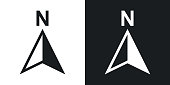 Vector north direction compass icon. Two-tone version