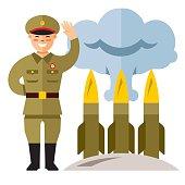 Vector North Korea Missile System. Flat style colorful Cartoon illustration.