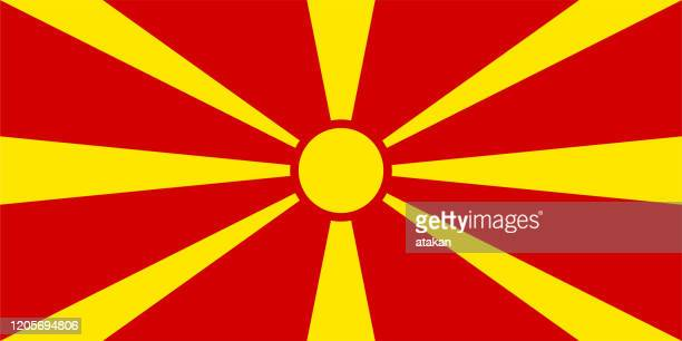 stockillustraties, clipart, cartoons en iconen met vector noord-macedonië vlag ontwerp - macedonië land