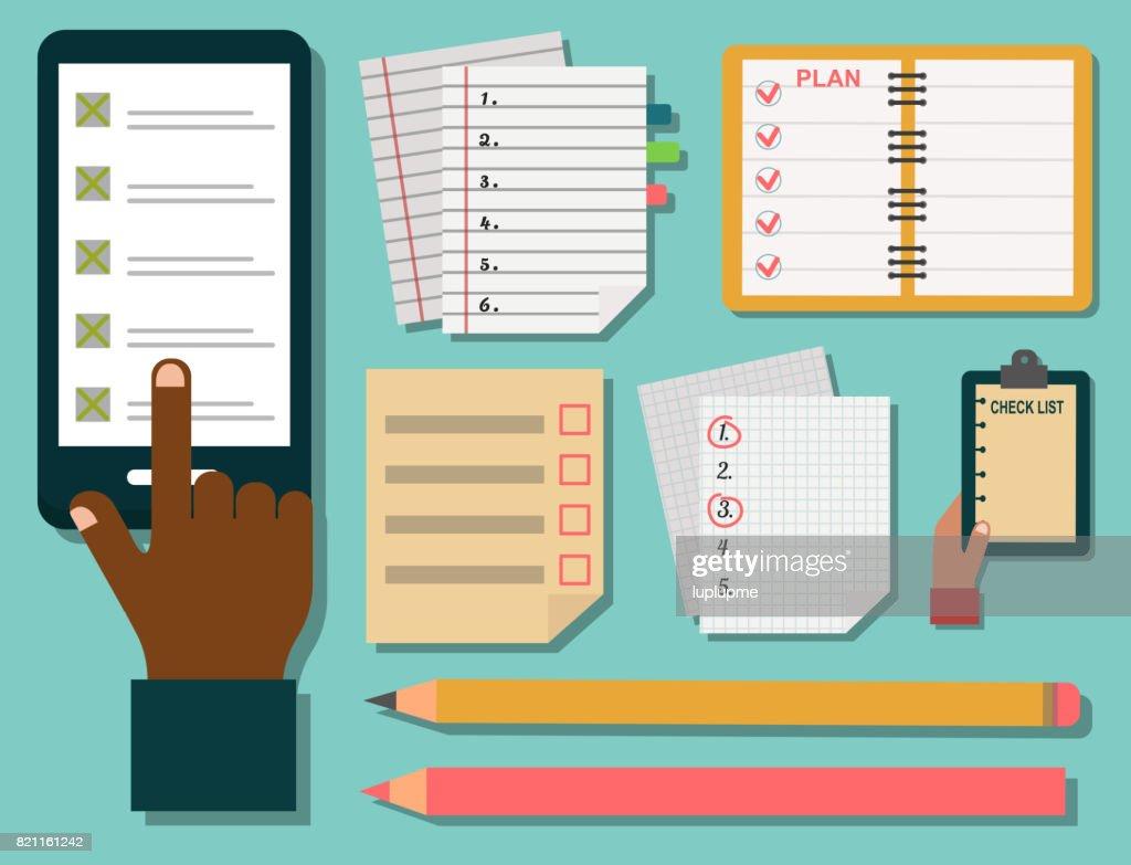 Vector notebook agenda business note plan work reminder planner organizer illustration
