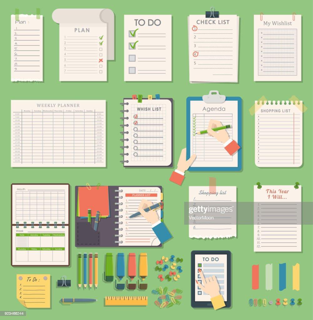 Vector notebook agenda business planner note. Meeting notebook plan work reminder agenda business note. Schedule calendar planner organizer agenda business books note appointment concept