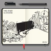 Vector Notebook with Shadows and Hand Drawn Doodles. Collection of Music Instruments. Music and Recreation Time Concept.