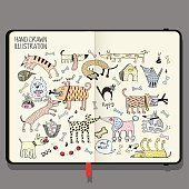 Vector Notebook with Shadows and Hand Drawn Doodles. Funny Dogs Set.